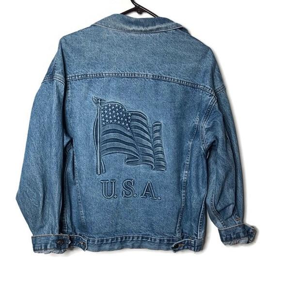 539db861e Vintage men's denim jean trucker jacket USA flag M